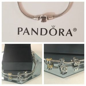 100% Authentic Pandora bracket w/ 3 Pandora charms